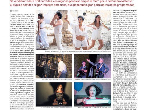 La nostra presència en el Festival Matarranya Íntim 2019